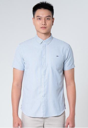 Private Stitch blue Private Stitch Men Casual Short Sleeve Regular Fit Cotton Striped Shirt 44164AA910C29FGS_1
