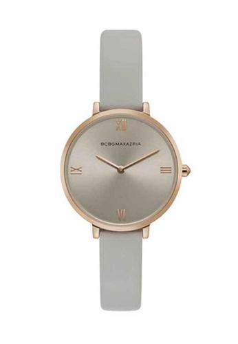 BCBG grey BCBGMAXAZRIA Gold and Grey Leather Watch 6544AAC433438BGS_1