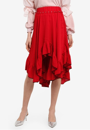 LOST INK red Prairie Trim Detail Midi Skirt ABFEAAA29E949FGS_1