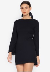 Susto The Label black Deena Longsleeve Backless Dress DAB8FAA7B2EB3DGS_1
