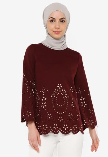 JULY red Women Laser-cut Long Sleeves Blouse 2F1DBAA35BF3E0GS_1