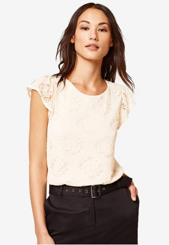 ESPRIT white Lace Frill Sleeve Top 45550AAA8CEB75GS_1