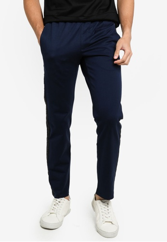 ck CALVIN KLEIN navy MERCERISED COTTON TERRY PANTS WITH SIDE JACQUARD LOGO TAPE 753BBAA190F603GS_1