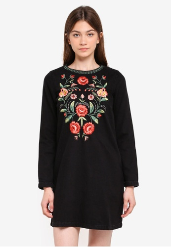 Mango black Flower Embroidered Denim Dress MA193AA0T1D2MY_1
