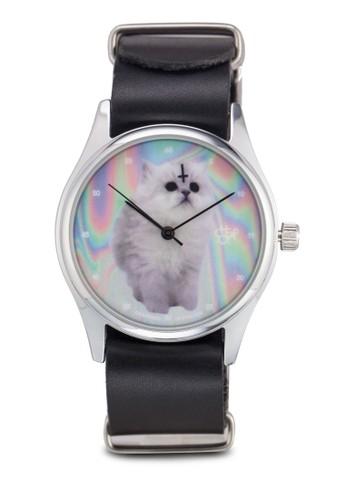 貓咪esprit hk outlet圓框仿皮手錶, 錶類, 飾品配件