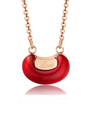 CELOVIS red and gold CELOVIS - Love Pea Red Bean in Rose Gold Pendant Necklace 2DFFBACF5BDA9FGS_1