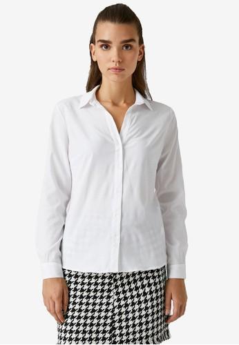 KOTON white Basic Long Sleeve Shirt 55A41AAFA08678GS_1