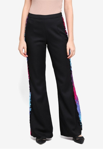 Lubna black Side Sequin Bell Shape Pants 87177AA9962085GS_1