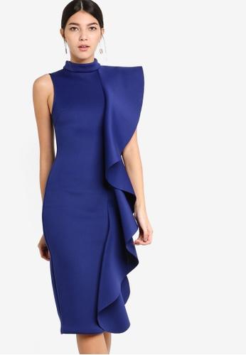 Lavish Alice blue Asmetric Draped Frill Midi Dress F9BD7AAC2AB247GS_1