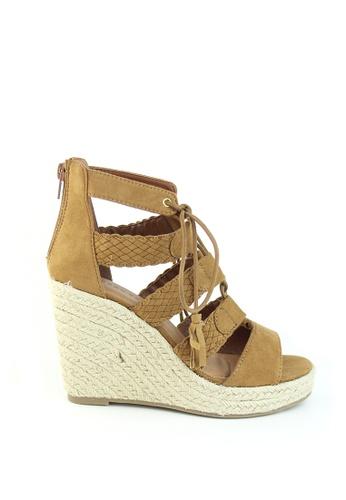London Rag brown Camel Wedges Sandals 73D57SHB924738GS_1