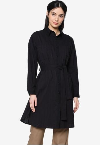 ZALIA BASICS black Textured Belted Oversize Shirt 929D1AACC04A8FGS_1