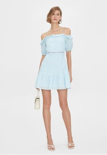 Pomelo blue Cold Shoulder Eyelet Cut Out Dress - Blue 84C97AA7E02543GS_1