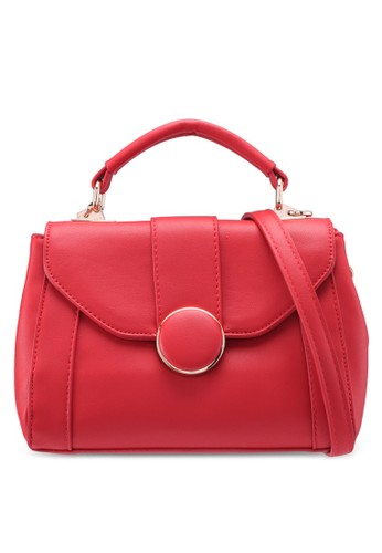 Bagstationz red Faux Leather Covertible Top Handle Bag FB7DCACAB82267GS_1