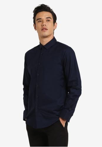 ZALORA 海軍藍色 Slim Fit Oxford Long Sleeve Shirt 0F2A8AAE595409GS_1
