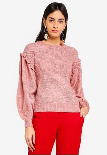 Vero Moda pink Blumi Balloon O-neck Sweater B630EAA9F14AC4GS_1
