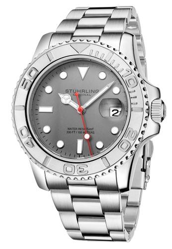 Stuhrling Original silver Stuhrling Original Men's Aquadiver Stainless Steel Bracelet Watch CA935AC21FAF2CGS_1