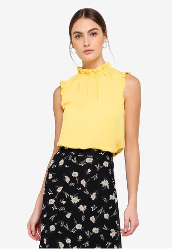 FORCAST yellow Emory Gathered Neck Top E1FCFAA349465AGS_1