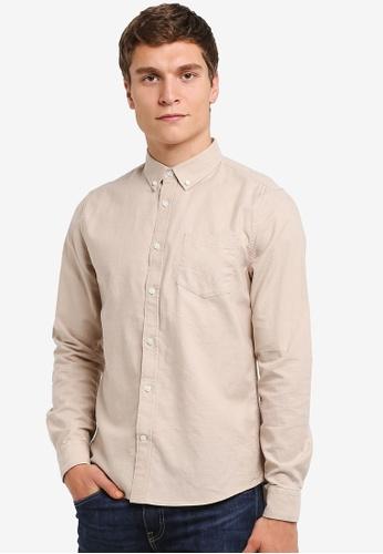 Burton Menswear London beige Long Sleeve Stone Oxford Shirt BU964AA0RSIEMY_1
