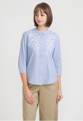 5f39788d Buy Bossini 3/4 Sleeve Striped Embroidered Shirt Online on ZALORA Singapore