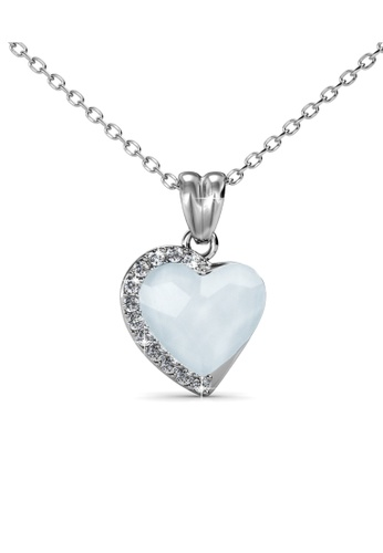 Her Jewellery silver Fond Love Pendant (Opal White) - Made with premium grade crystals from Austria HE210AC0GFHLSG_1