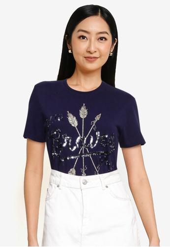 Superdry navy Off Piste Foil T-Shirt 46E3BAAB57EA2FGS_1
