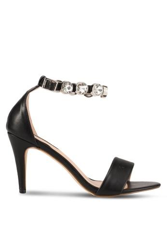 Nose black White Stone Diamond Strap Heels NO327SH0SAFDMY_1
