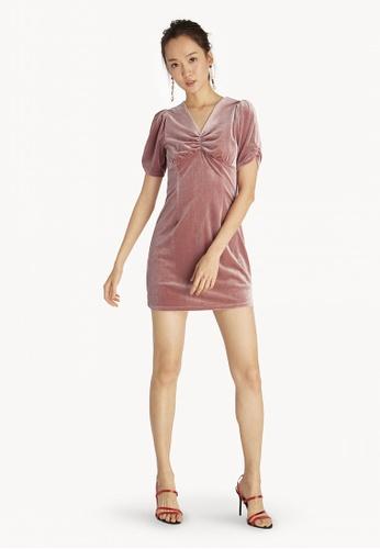 12aa6d5cb9fe Buy Pomelo Mini Ruched Velvet Dress - Pink Online on ZALORA Singapore