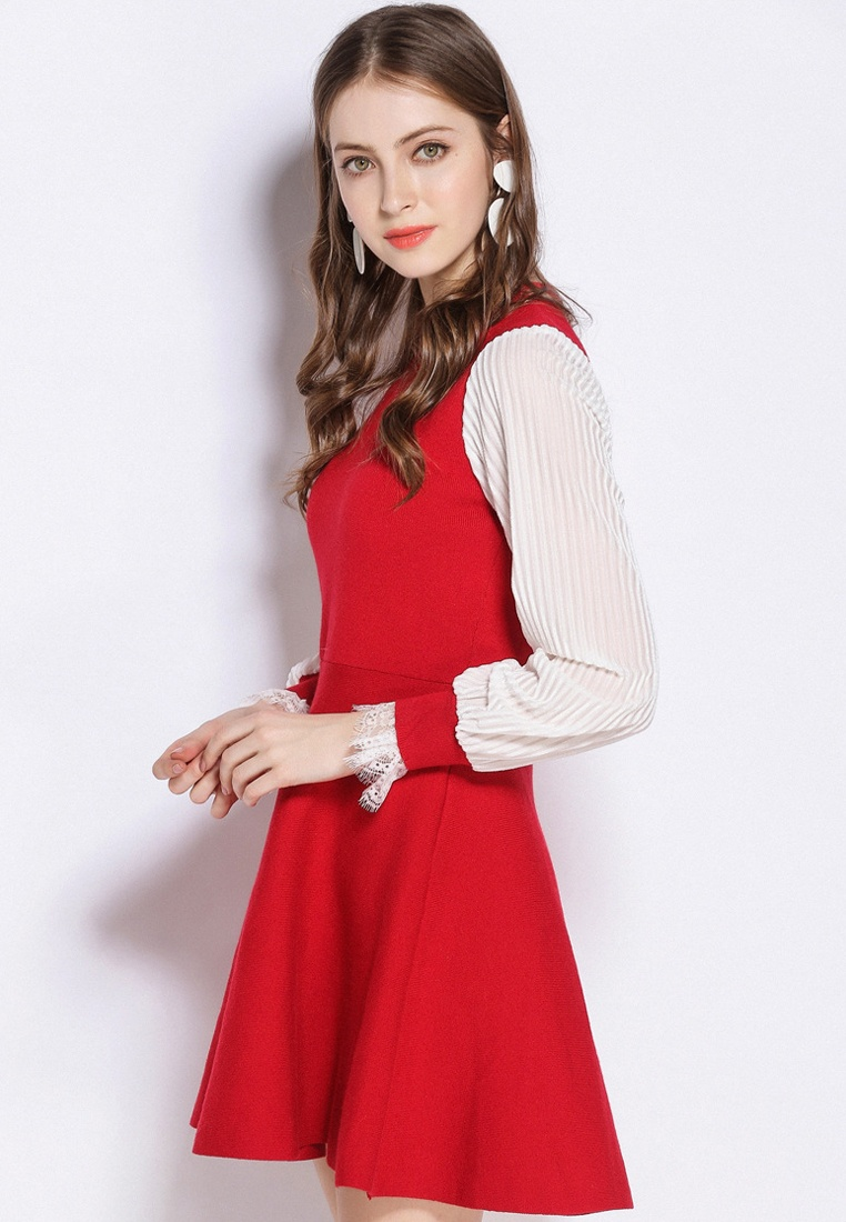 2018 Sunnydaysweety Red Sleeves Dress Red UA012404 One New Long Piece WUWH8Pz