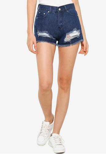 ZALORA BASICS 藍色 Distressed Denim Shorts B5D06AA6D35177GS_1