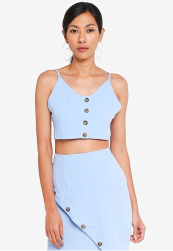 MISSGUIDED blue Button Up Toe Back Cami Coord Top F1883AAB99519CGS_1