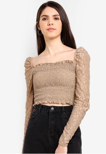 Cotton On brown Eden Long Sleeve Lace Top 81D5EAACDDC2C9GS_1