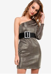 River Island gold One Sleeve Belted 80's Dress RI009AA96JZBMY_1