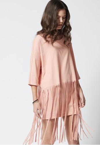 PLAY 流蘇下擺七分袖連身裙、 服飾、 洋裝jucyjudyPLAY流蘇下擺七分袖連身裙最新折價