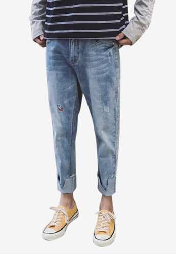 hk-ehunter blue Men Embroidery Pattern Light Wash Denim Jeans 368D8AA15068DCGS_1