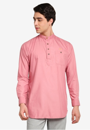 Mudaser pink Pink Long Sleeve Smart Shirt (Uthman Top) 2741FAA6BA5C9DGS_1