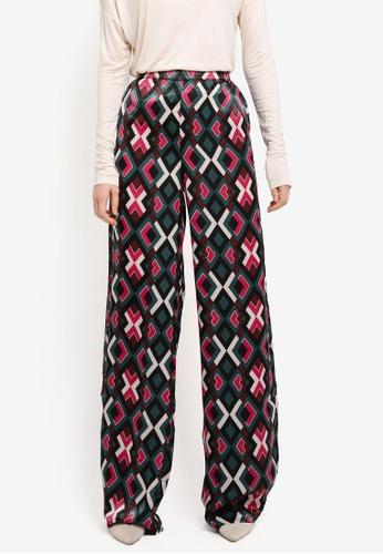 Mango pink High-Waist Printed Trousers 144A5AAD4FCD8CGS_1