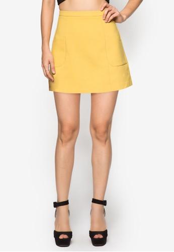 Lzalora 台灣ove A 字口袋短裙, 服飾, 迷你裙