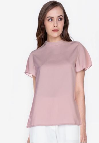 ZALORA WORK pink High Neck Angel Sleeves Boxy Top 1CA2CAA85D1EEBGS_1