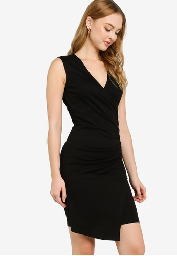 ZALORA WORK black Ruched Bodycon Dress 39B20AA679AD41GS_1