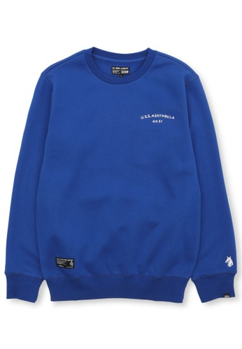 izzue navy Graphic embroidered sweatshirt 995A4AA36FCF3CGS_1