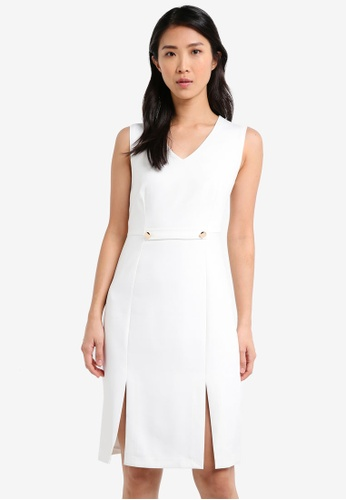 ZALORA white Bodycon Dress with Slits 09D18AAFE467CEGS_1