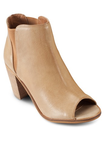 Evie 露zalora taiwan 時尚購物網趾木製粗跟踝靴, 女鞋, 鞋