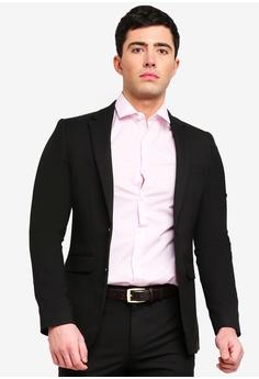3c2b304283d0 Burton Menswear London black Black Slim Fit Stretch Suit Jacket  23C6AAA587A6ECGS_1
