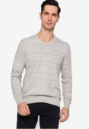 Sacoor Brothers grey Men's V-neck Knitwear C2B9FAAFD209CEGS_1