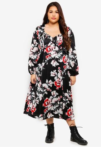 ELVI multi Plus Size Floral Sweet Pea Midi Dress DA562AA5D16764GS_1