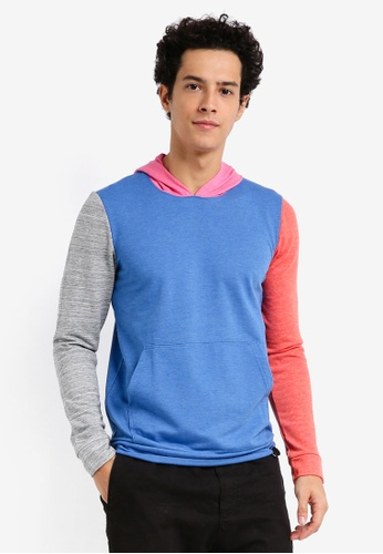 UniqTee blue and multi Colorblock Jacket 161FBAA4D8840EGS_1
