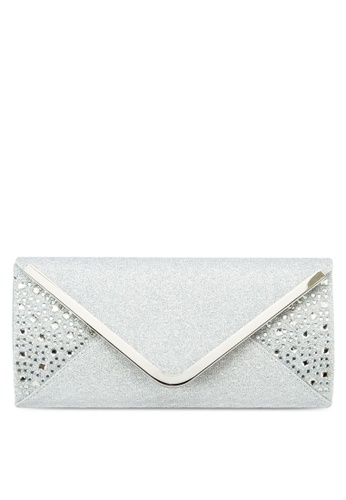 Unisa silver UNISA V-Metal Dinner Clutch with Glittering Stones & Crystal Embellishment UN821AC11ISEMY_1