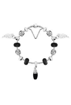 Treasure by B&D DBY019 Retro Angel's Wings Glass Lucky Beads DIY Bracelet(Silver Pleated)