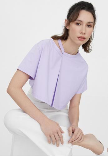 Pomelo purple Cut Out Neck Crop Tee - Purple A1CEAAAB598FACGS_1