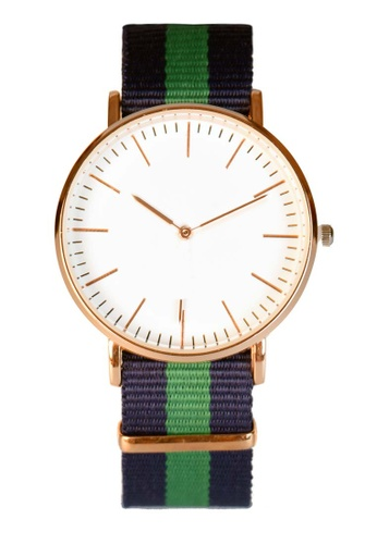 LEUPP green and blue and gold Canvas Nato Watch TO983AC78KPHPH_1